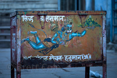 Box with a painting of Hanuman at night, Pushkar, Rajasthan, India