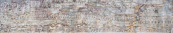 Cambodge, Angkor Thom, Bayon, Galerie Sud, moitié orientale, bas-reliefs