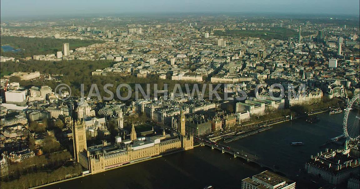 London Aerial Footage of Westminster towards Trafalgar Square.