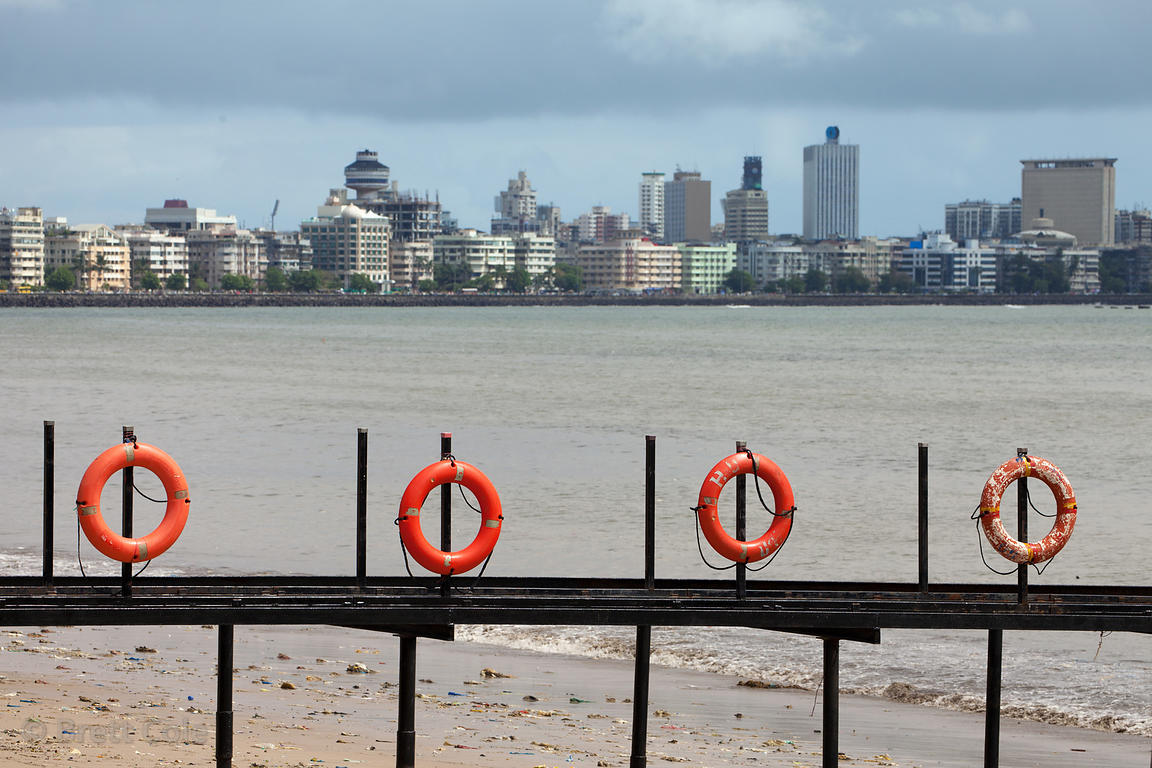 Small life preservers on a fence at Chowpatty Beach, Mumbai, India.