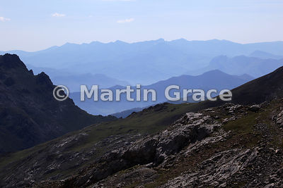 Aerial (atmospheric) perspective looking east from below Pena Olvidada, Mirador del Cable, Picos de Europa, Cantabria