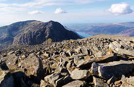 Views of Sca Fell & Wast Water from Scafell Pike in the English Lake District.
