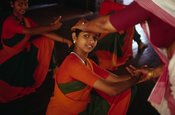 India - Kerala - Girls practice Mohiniyattam, a classical Keralan dance for women
