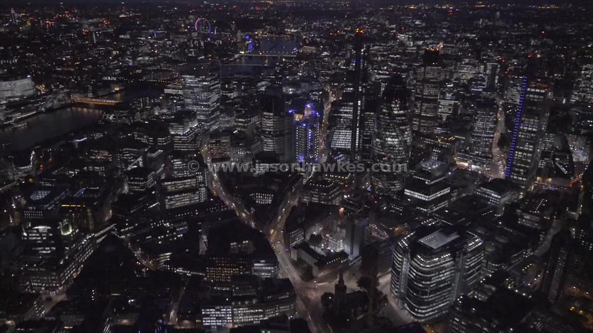 Aerial footage of the City of London at night