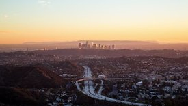 Bird's Eye: Watching The Sunset Over A Busy Highway & L.A. Skyline, Looking Southwest