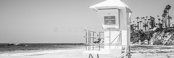 Lifeguard Tower Black and White Panorama Photo