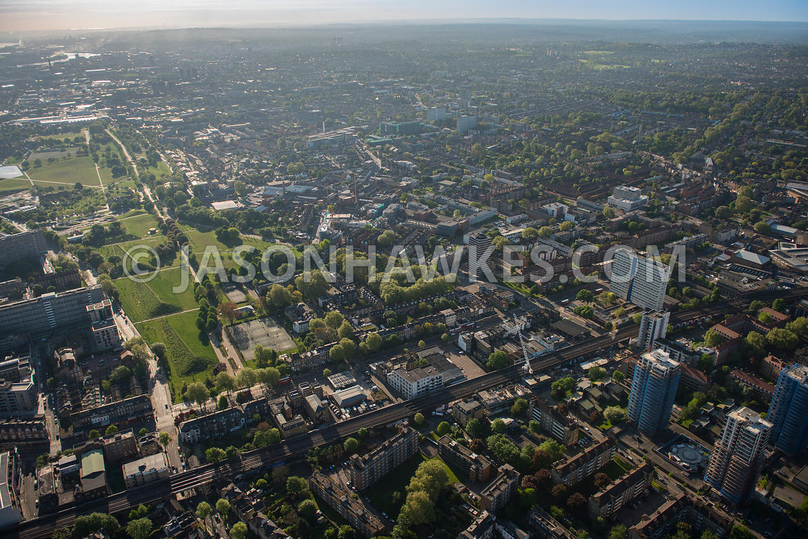 Aerial view of Burgess Park, London