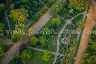Aerial view of landscaped gardens, Hyde Park, London