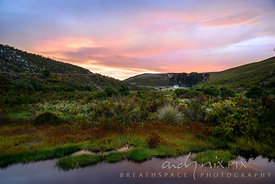 Soft pink dawn over a river valley on a fynbos farm, small farmhouse in the distance, at Laughing Waters Farm