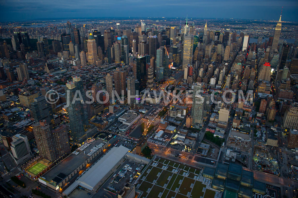 Aerial view of the Hudson Yards site, a redevelopment project on Manhattan's West Side along the Hudson River, New York City