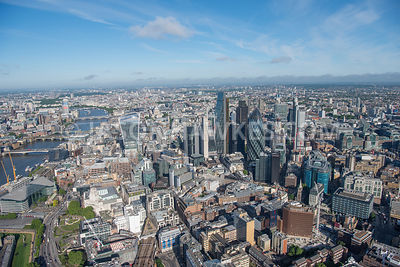Aerial view of City of London with River Thames