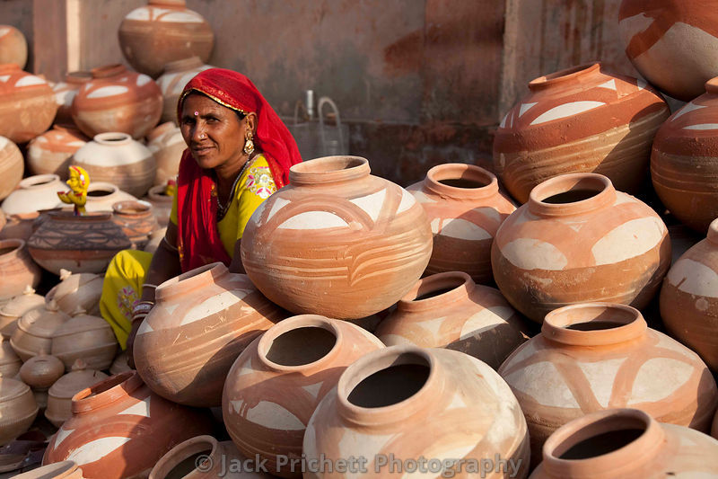 Woman pottery vendor