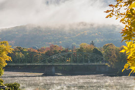 The Memorial Bridge over Chenango river in Binghampton, New York.