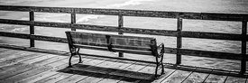 Seal Beach Pier Bench Black and White Photo