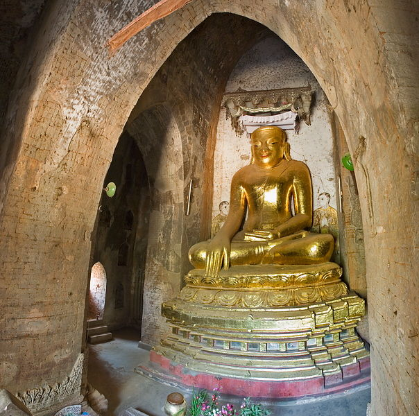 The restored main Buddha of Kyauk-Ku-Umin, an 11th-12th century Burmese temple at Pagan, on the banks of the Irrawaddy. this ...