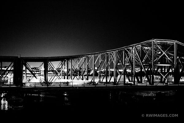 BOSTON BRIDGE AT NIGHT BLACK AND WHITE