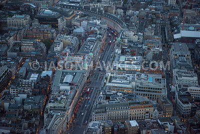 Aerial view of London, Regent Street and Savile Row  at night.