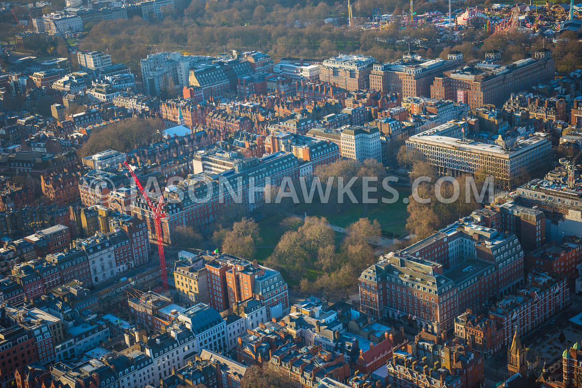 Aerial view of London, Mayfair with Grosvenor Square and Mount Street Gardens.