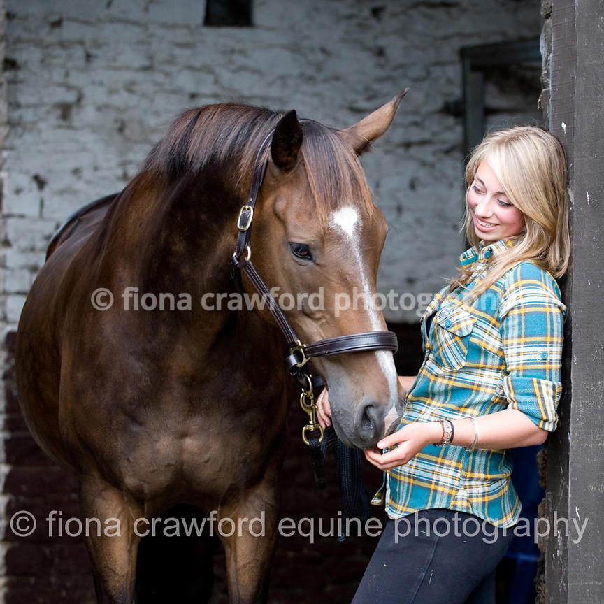 girl with liver chestnut horse