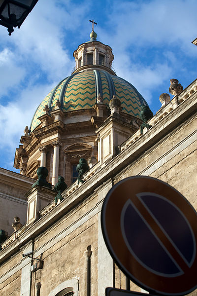 Italy - Palermo - The dome of San Giuseppe dei Teatini, and a road traffic sign