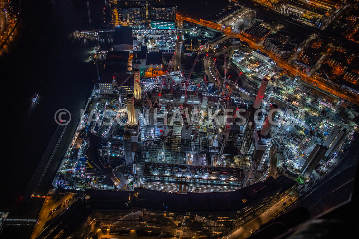 Night aerial view of Battersea Power Station. Development, Construction.