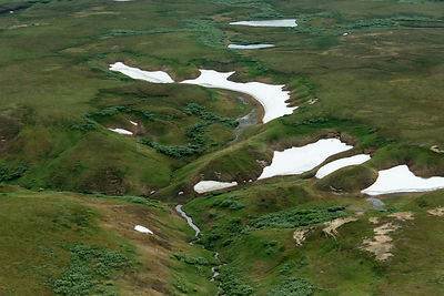 Aeial view of  landscape with last remnants of snow in summer, Nenets Autonomous Okrug, Arctic, Russia    , July 2017
