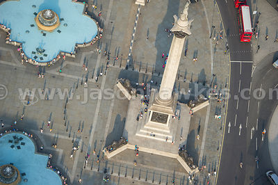 Low level aerial view onto Nelsons Column, Trafalgar Square, London