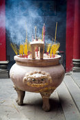 Vietnam - Ho Chi Minh City - A couldron of incense at the Thien Hau Pagoda
