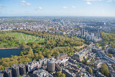 Aerial view of Knightsbridge, London. Hyde Park, Hyde Park Corner, Knightsbridge, london, Mayfair, Park Lane, St Paul's Churc...