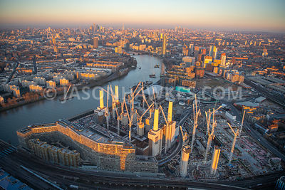 aerial view over Battersea Power Station and Nine Elms, London.