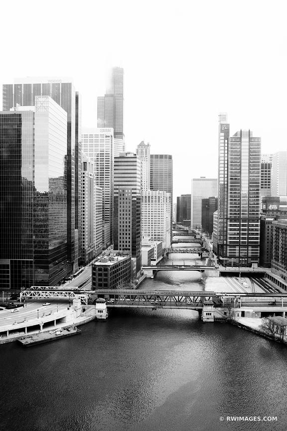 DOWNTOWN CHICAGO RIVER BRIDGES BLACK AND WHITE VERTICAL