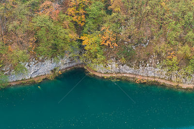 Milanovac lake, Lower Lakes, in autumn, Plitvice Lakes National Park, Croatia, October 2008