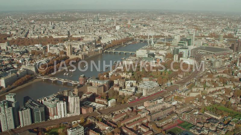 Aerial footage of Lambeth, Lambeth Palace, Lambeth Palace Gardens, London Eye, Waterloo, and St Thomas' Hospital London.