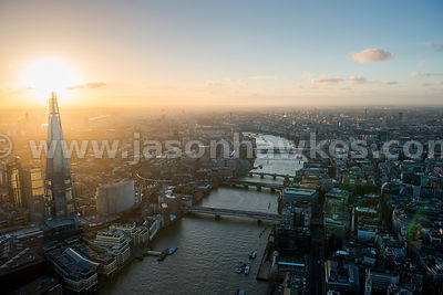 Aerial view of The Shard and Thames at dusk, London
