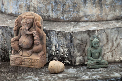 Ganesh and Buddha idols at a temple in Pushkar, Rajasthan, India