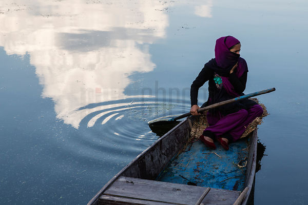 Young Woman in a Shikara on Dal Lake