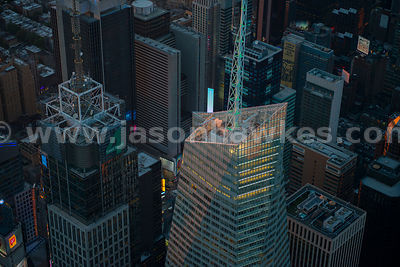 Aerial view of the top of the Bank of America Tower