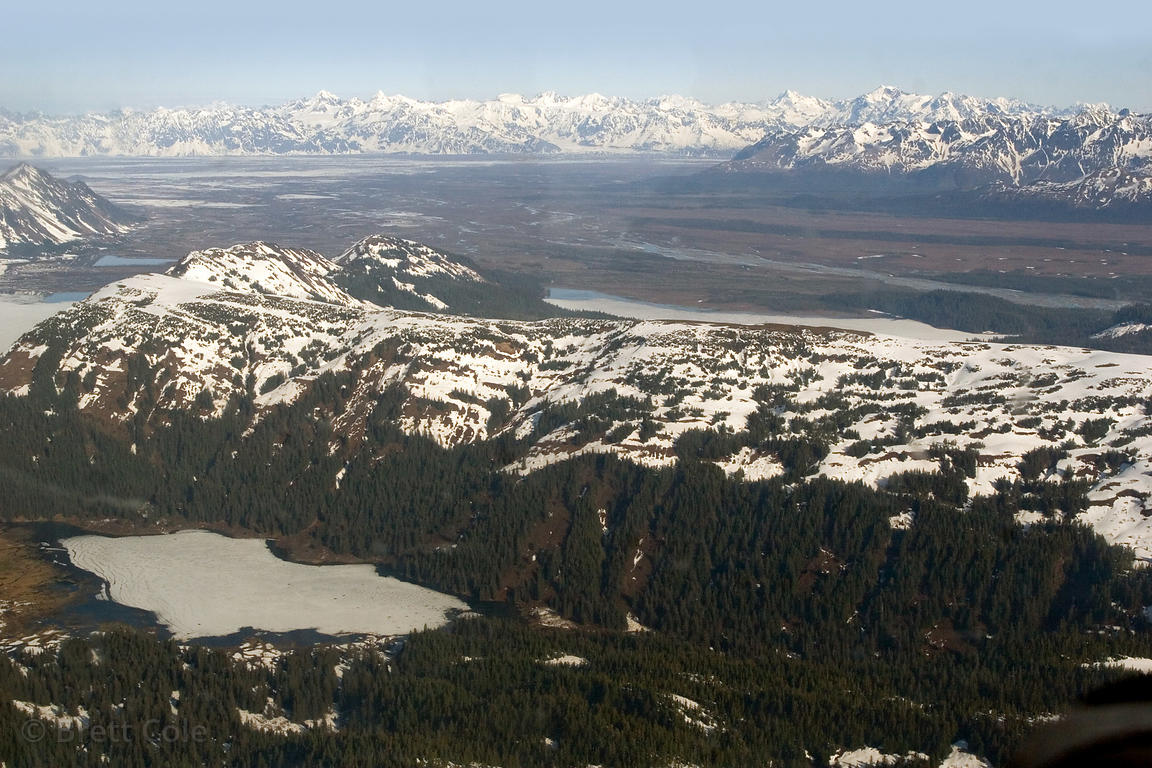 Aerial view of the Alaska coast south of the Copper River Delta