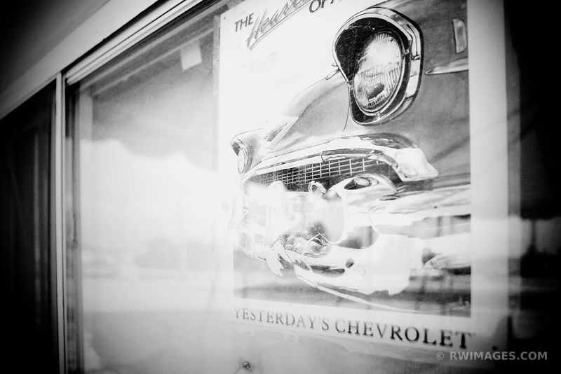 YESTERDAY'S CHEVROLET ROUTE 66 ILLINOIS BLACK AND WHITE