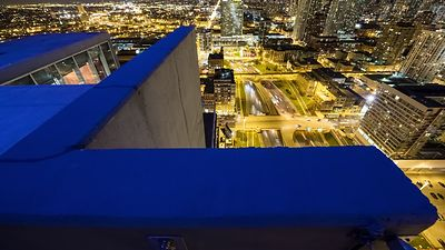 Bird's Eye: Foregrounded Downward View Above the Busy Kennedy Expressway at Night
