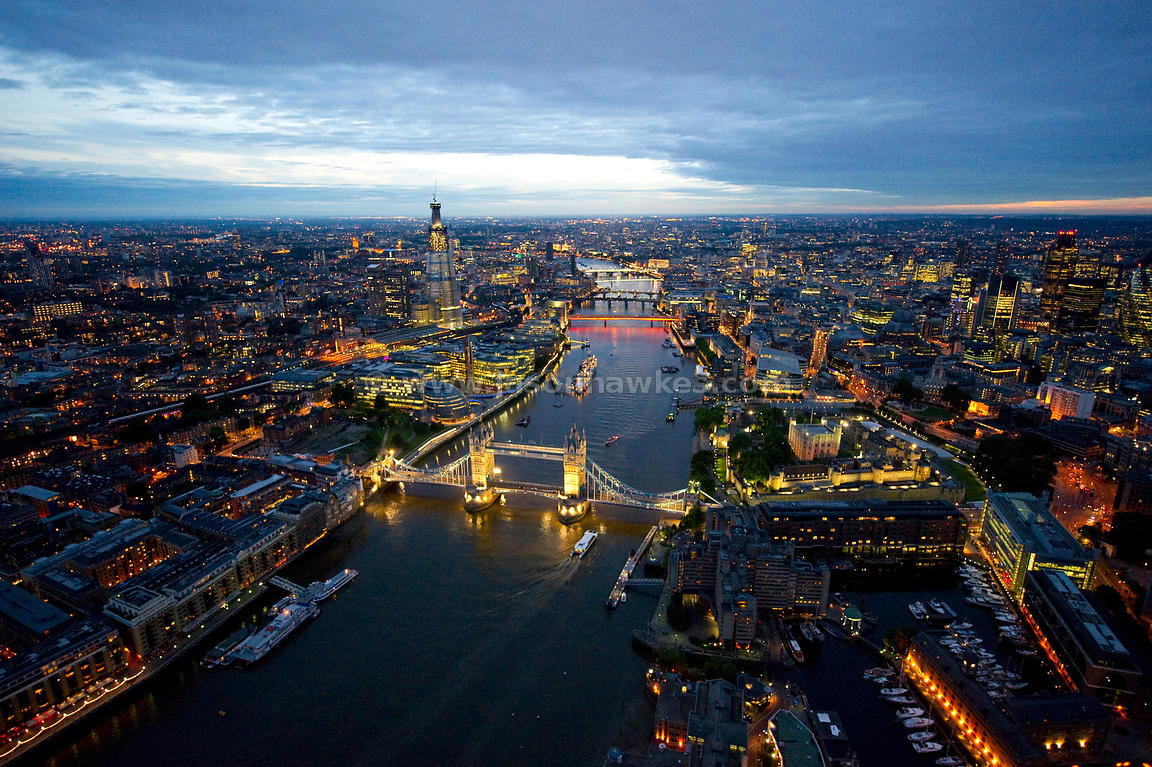 Dusk aerial view London and Tower Bridge