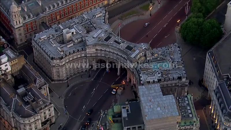 Aerial footage over the Admiralty Arch, Westminster, London