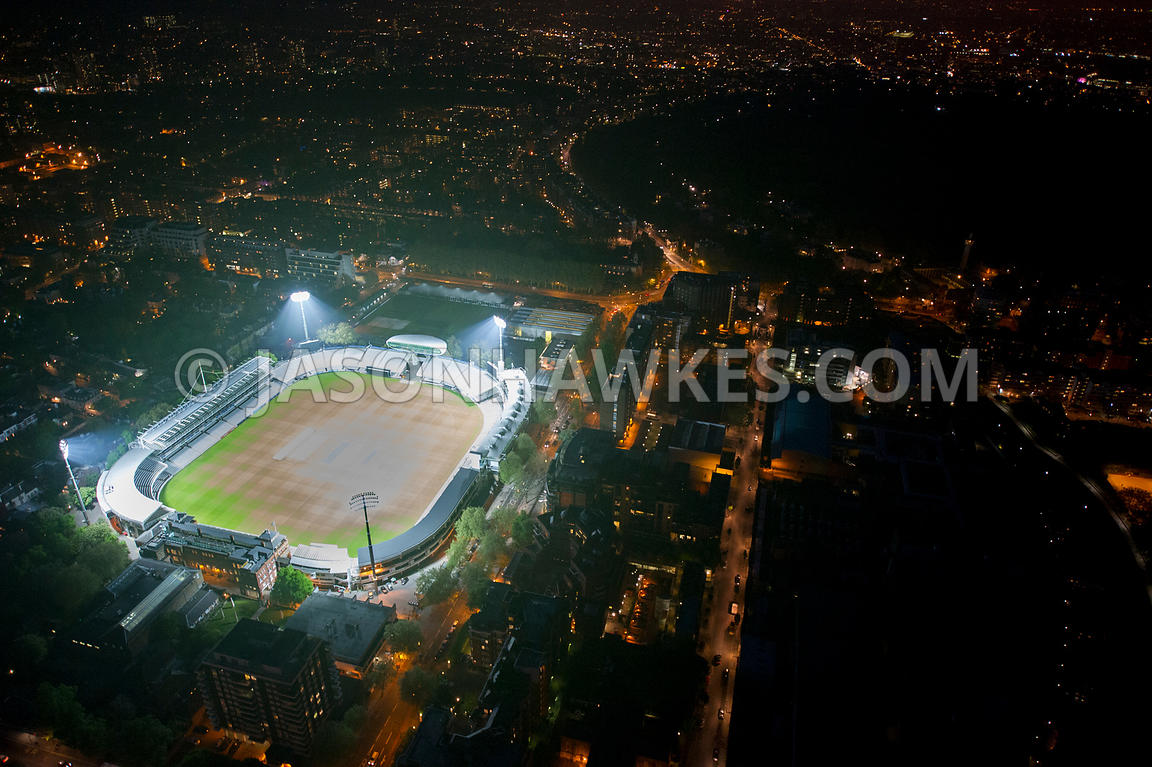 Aerial View over Marykebone Cricket Club at night, London