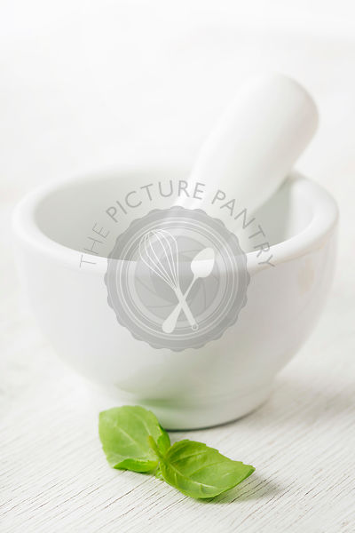 Ceramic Mortar with Pestle and basil