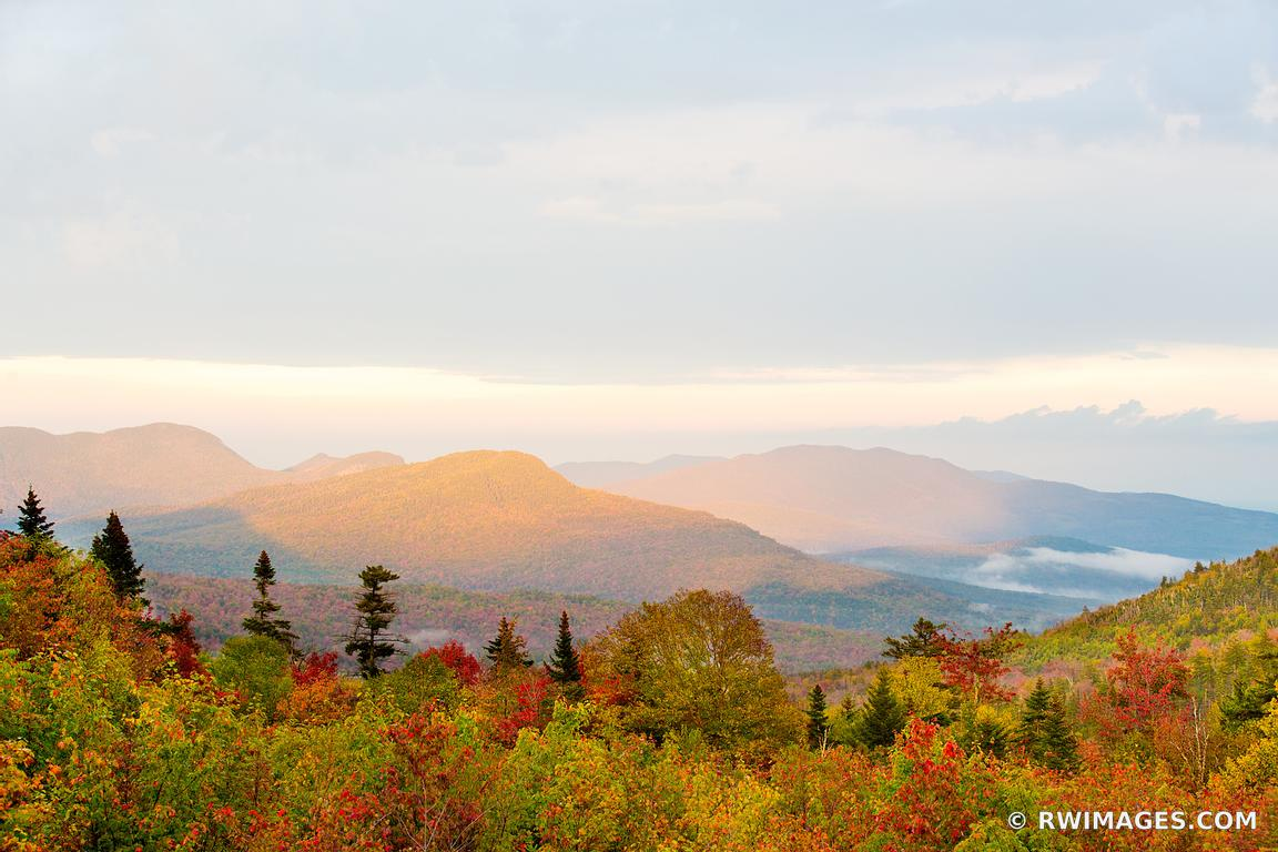 SUNSET WHITE MOUNTAINS KANCAMAGUS HIGHWAY NEW HAMPSHIRE FALL COLORS LANDSCAPE