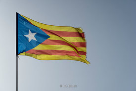 The secession flag of Catalonia in Barcelona, Spain.