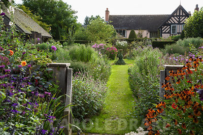 View into Sundial Garden framed with heleniums, monardas and salvias, with asters full of buds beyond. Wollerton Old Hall, nr Market Drayton, Shropshire, UK