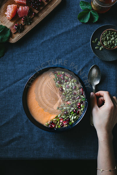 Citrusy Cantaloupe Smoothie Bowl with Pepitas