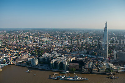Aerial view of London Bridge station and the Shard, Southwark, London