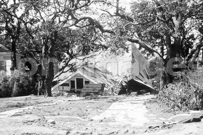 Collapsed house in Biloxi after Hurricane Camille, 1969
